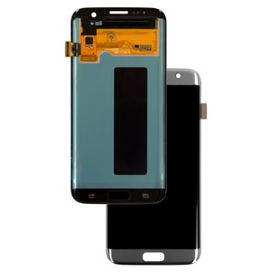 LCD compatible with Samsung G935 Galaxy S7 EDGE, (silver, with touchscreen, original (change glass) )