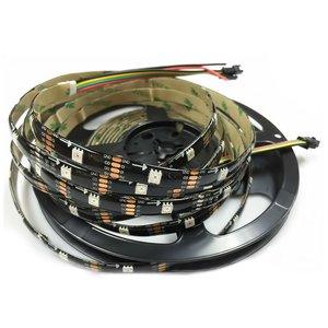 Светодиодная лента RGB SMD5050, WS2813 (черная, с управлением, IP65, 5 В, 30 диодов/м, 5 м)